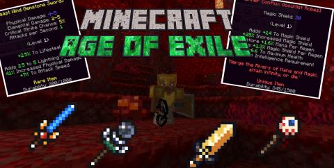 Age of Exile [1.16.1] (новые улучшения оружия, уровни у мобов, 20 заклинаний)