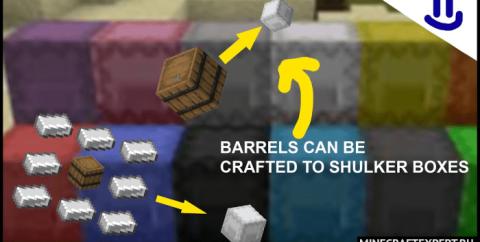 Shulker Boxes Craftable by Barrels [1.16] — крафт ящика шалкера