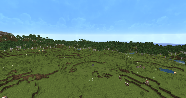 The whole plains area has every kind of animal, plus birch, oak and spruce wood, all very close to spawn. - Imgur