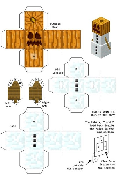 Снеговик Minecraft из бумаги:
