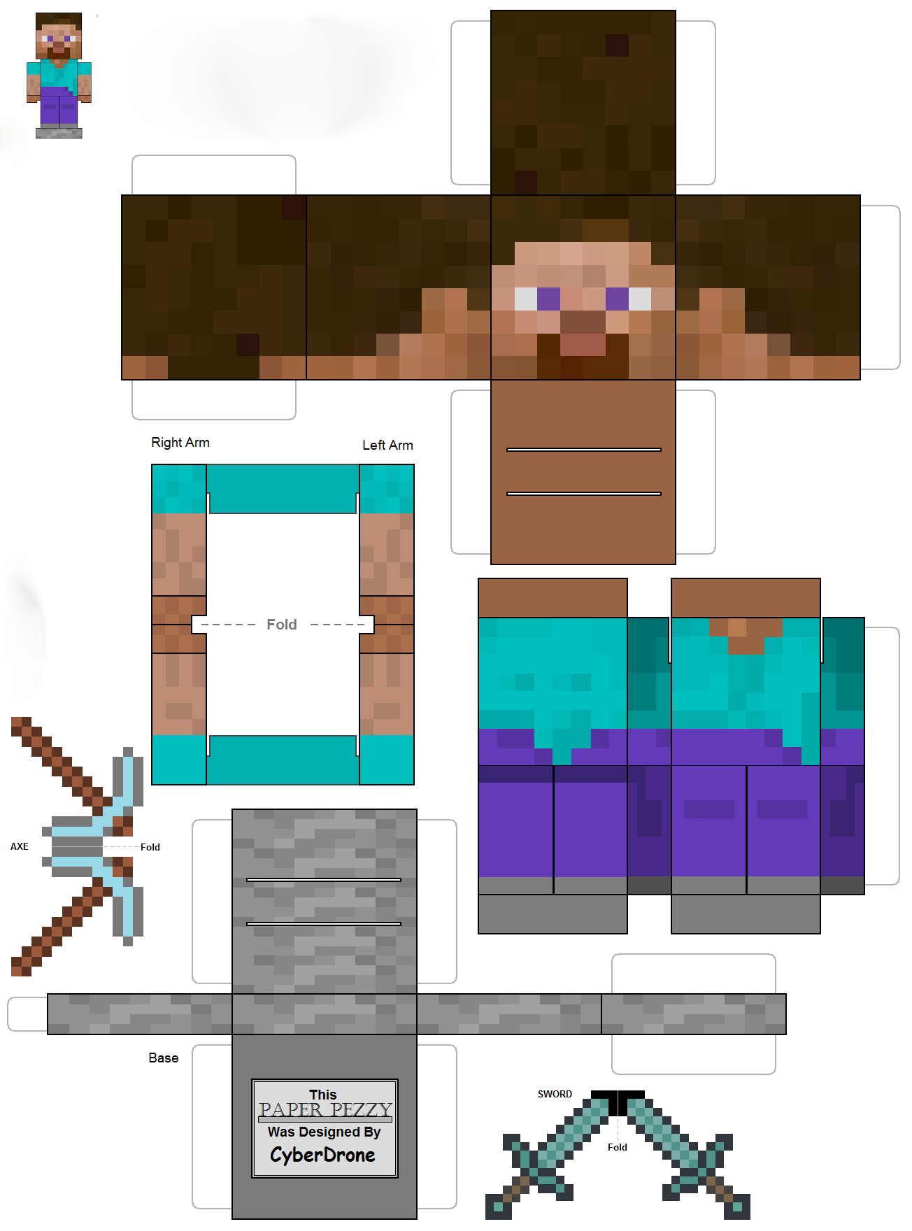Minecraft из бумаги стив и мобы майнкрафт вики