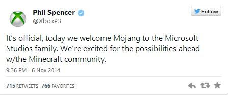 Сделка по приобретению Mojang компанией Microsoft официально состоялась