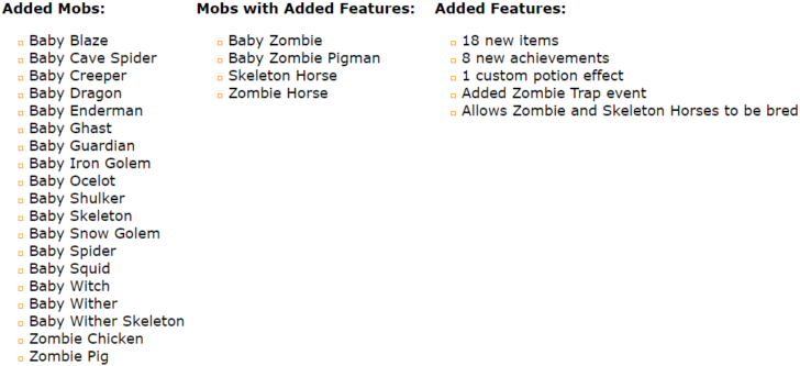 Baby Mobs - детеныши мобов [1.12.2] [1.11.2] [1.10.2] [1.7.10]