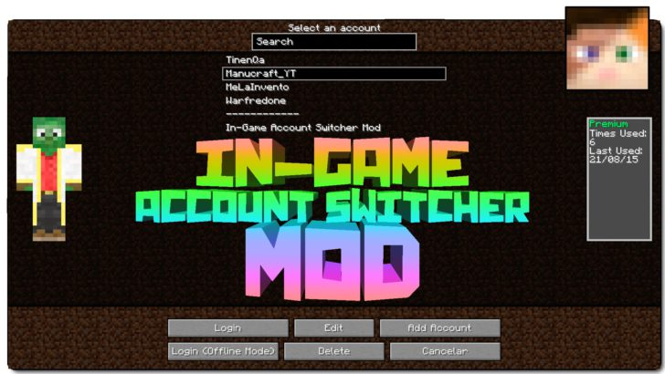 Ingame Account Switcher [1.12.2] [1.11.2] [1.10.2] [1.7.10]