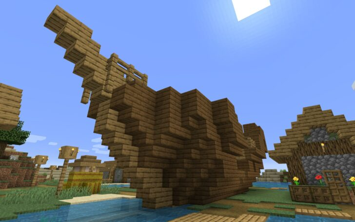 Сид c деревней на маленьком острове, кораблем и подводными руинами [1.14.3]