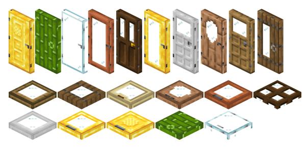 ExtraDoors [1.15] [1.14.4] (новые виды дверей и люков)